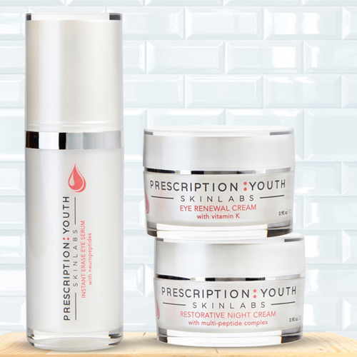 Instant Erase Eye Serum product image, Eye Renewal Cream product image, and Restorative Night Cream product image